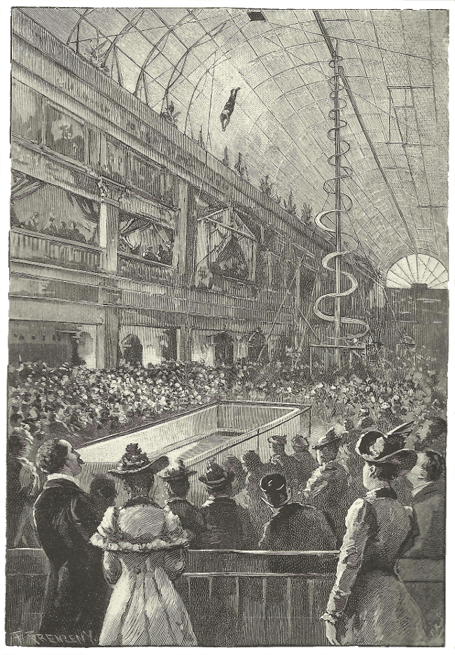 An illustration from the weekly newspaper The Black and White showing Tommy Burns performing at the Royal Aquarium in 1893.