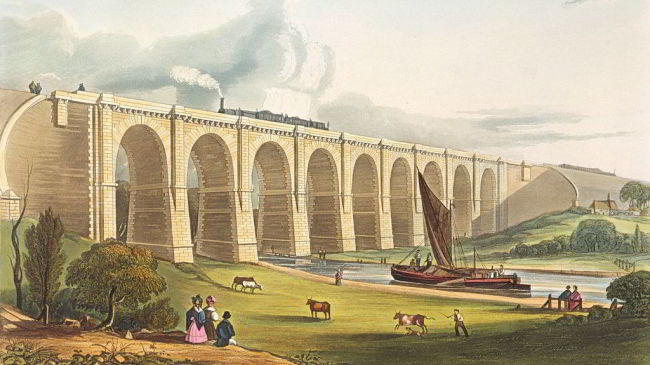 The Nine Arches at Earlestown takes the Liverpool to Manchester railway line across Sankey Valley.
