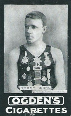 Image of Ogden's Series B cigarette card showing diver Tommy Burns
