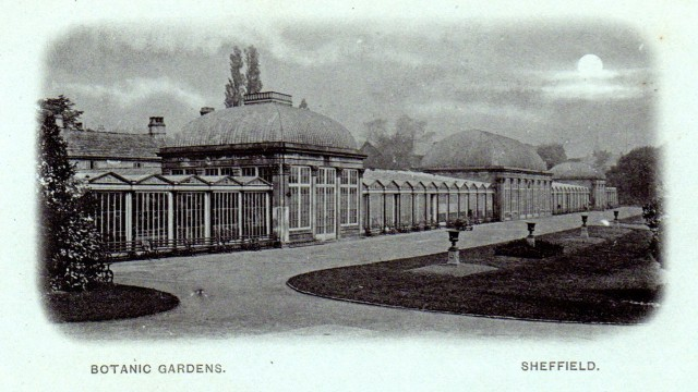 Sheffield Botanical Gardens Conservatories with extended sections - Postcards A Hunter Collection