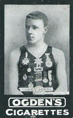 Image of Ogden's B Series cigarette card showing diver Tommy Burns