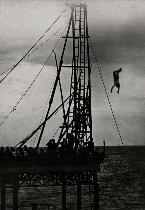 Photograph from the National Archives showing Tommy Burns's fatal dive from Rhyl Pier