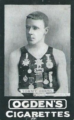 Image of Ogden's Series B cigarette card showing diver Tommy Burns